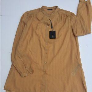 Massimo Dutti lightweight Gold Tunic Shirt